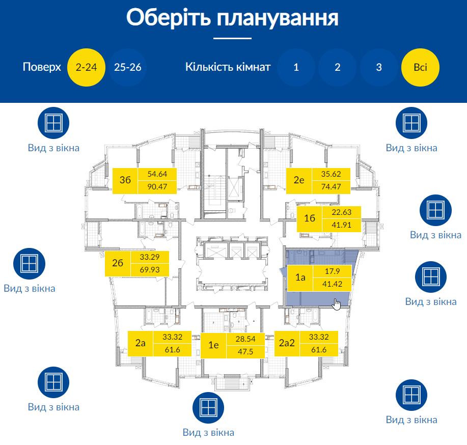 визуализация типового этажа на сайте жилого комплекса