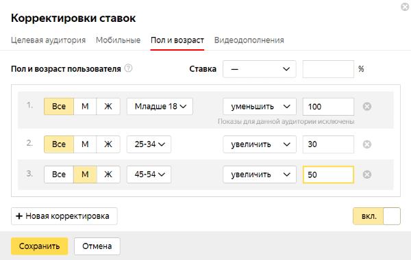 Яндекс.Директ настройка рекламы для новичков корректировки ставок