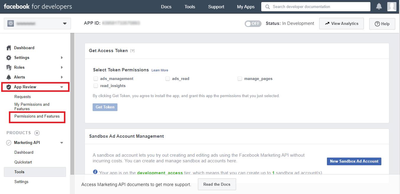 Доступ к разрешениям Facebook для интеграции