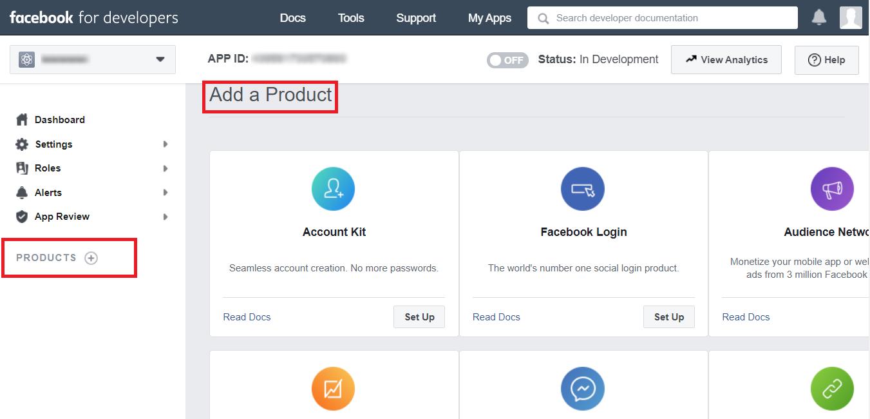 добавить продукты в Facebook для разработчиков