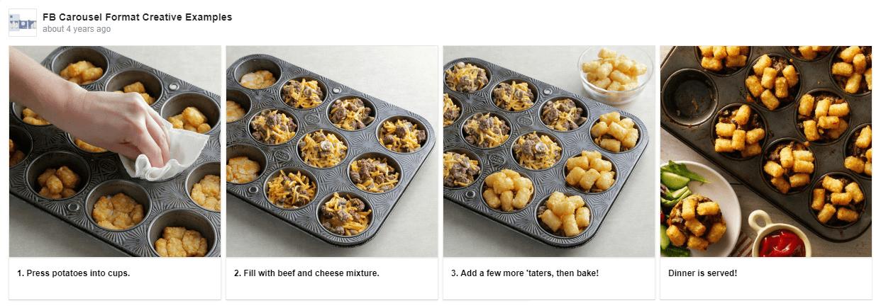 Пример рекламы карусель рецепт