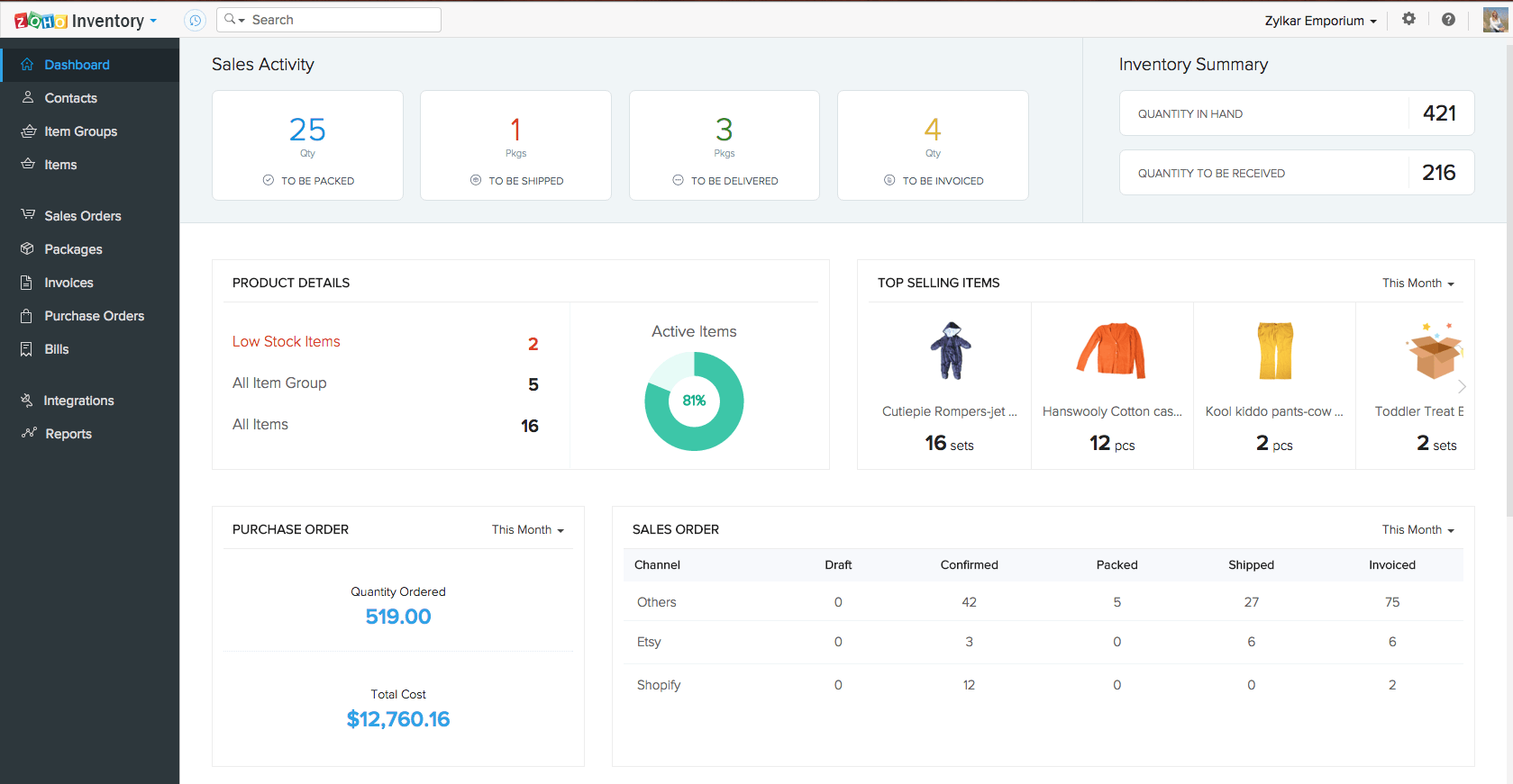The example of the Zoho CRM interface