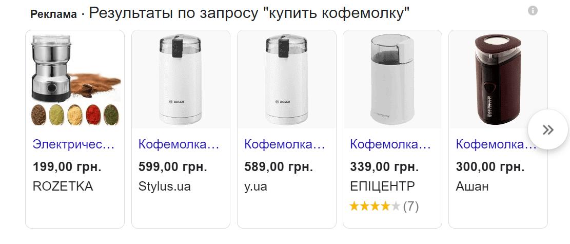 объявления Google Shopping о товарах
