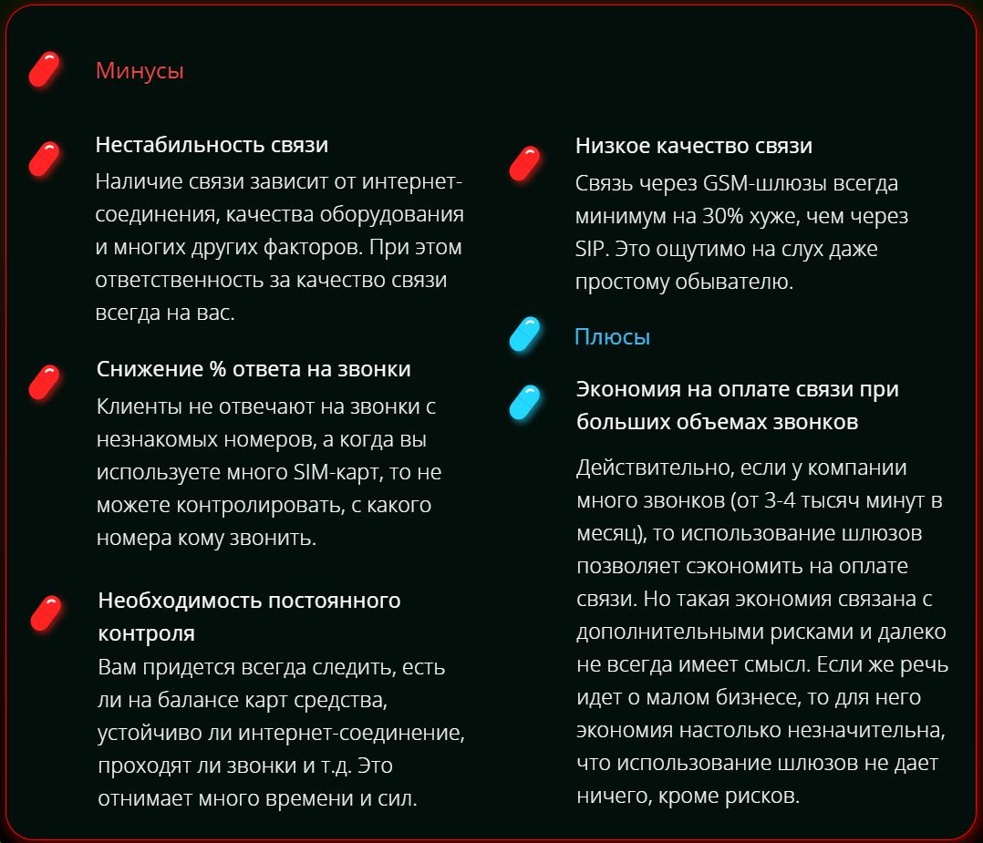 Минусы SIP-GSM-шлюзов