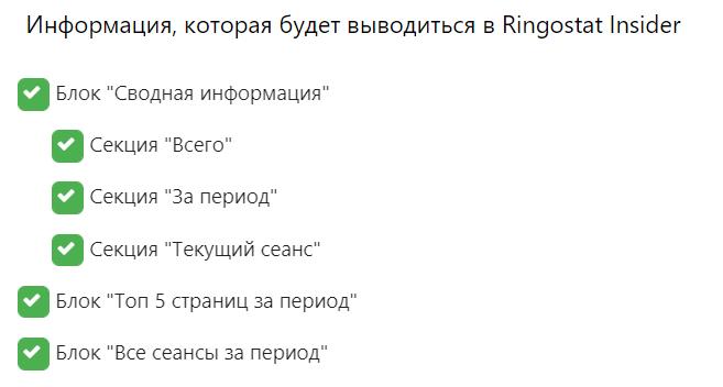 Настройки Ringostat Insider