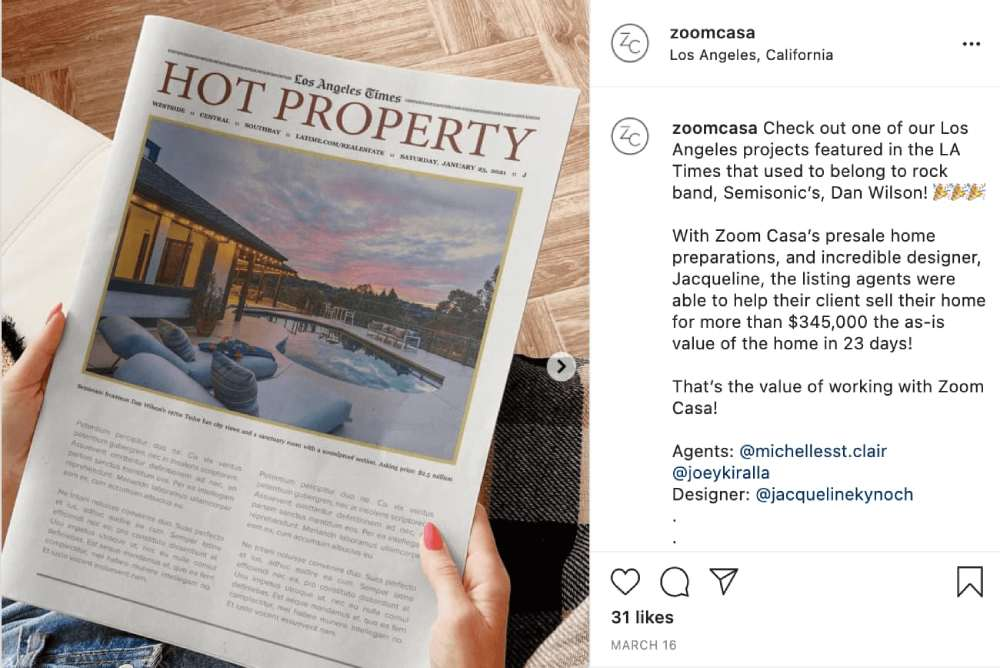 Реклама Zoom Casa в Instagram