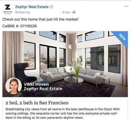 Реклама в Facebook от компании Zephyr Real Estate