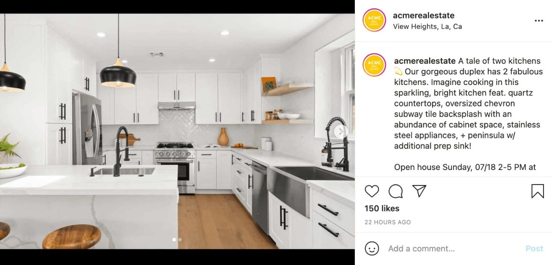 Реклама Acme Real Estate в Instagram